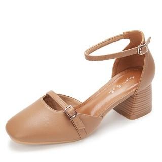 YIYA 毅雅 凉鞋女中空粗跟高跟时尚韩版百搭舒适低帮方头奶奶玛丽珍 103359黄棕色 38