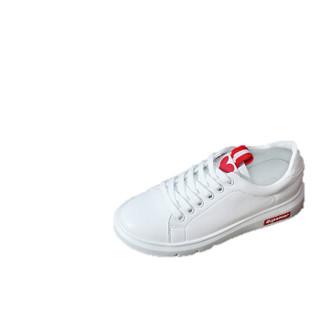 古奇天伦 女士韩版时尚简约百搭学生系带厚底低帮运动休闲小白鞋 9272 红色 35
