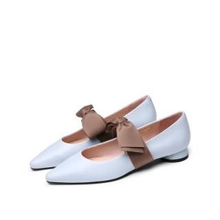 goldlion 金利来 女士尖头粗低跟休闲浅口玛丽珍工作单鞋61991005961P-浅蓝-38码