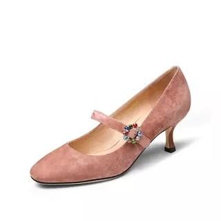 goldlion 金利来 女士圆头细高跟浅口玛丽珍单鞋62091008083P-粉色-36码