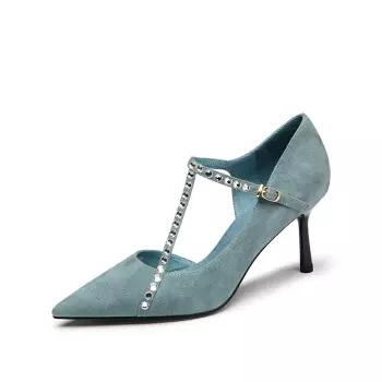 goldlion 金利来 女士尖头细高跟时尚水钻装饰职业浅口单鞋61291008760P-蓝色-36码