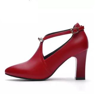 centenary 百年纪念 欧洲女士百搭一字扣尖头粗跟低帮单鞋 1365 酒红色 34