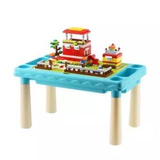 亚之杰儿童玩具积木桌子积木墙兼容乐高积木男孩玩具女孩拼装模型小颗粒畅玩300粒蓝色 +凑单品