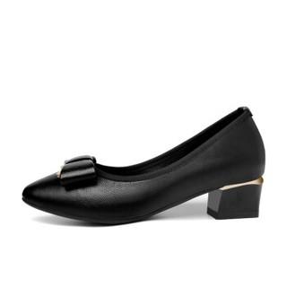 古奇天伦 韩版女士尖头粗跟休闲百搭套脚单鞋 9287 黑色 39