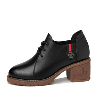 GUCIHEAVEN 古奇天伦 韩版圆头粗跟百搭厚底职业黑色女士单鞋 9278 黑色 34