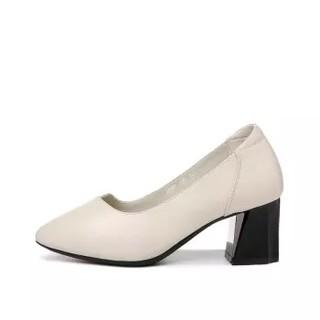 GUCIHEAVEN 古奇天伦 时尚休闲尖头粗跟低帮套脚纯色女单鞋子 9103 米色 39
