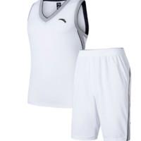 ANTA 安踏 篮球比赛服套装上衣+短裤 纯净白 XL 15831203-1
