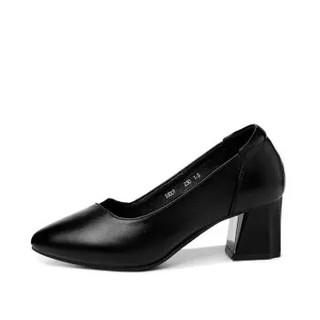 古奇天伦 时尚休闲尖头粗跟低帮套脚纯色女单鞋子 9103 黑色 35