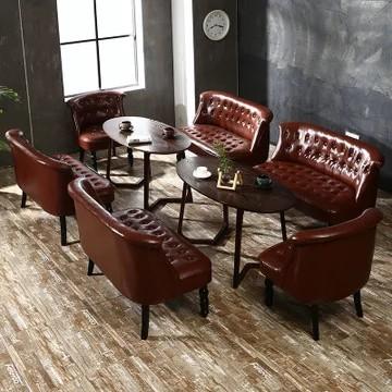TIMI 天米 油蜡皮沙发组合 琥珀红色 三人沙发