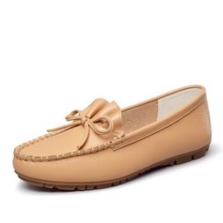 YEARCON 意尔康 女士一脚蹬舒适休闲平底豆豆单鞋女 9172ZB49352W 土黄 38