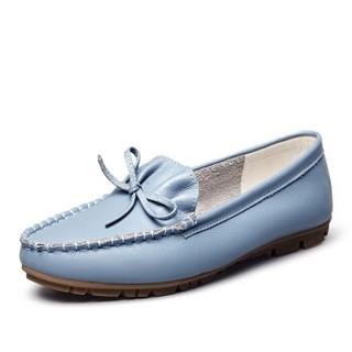 YEARCON 意尔康 女士一脚蹬舒适休闲平底豆豆单鞋女 9172ZB49352W 天蓝 37