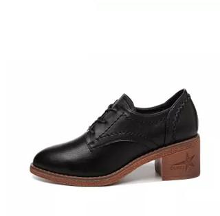 centenary 百年纪念 韩版女士粗跟圆头时尚百搭系带内增高舒适单鞋 1747 黑色 37