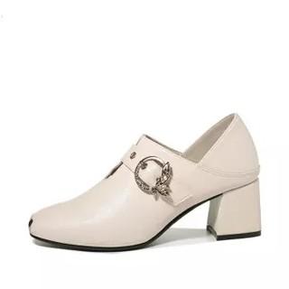古奇天伦 女士圆头粗跟百搭套脚纯色工装单鞋 9182 米色 40