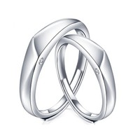 吾昔 925银钻石戒指 时尚简约不规则情侣钻石戒指活口可调节 男戒