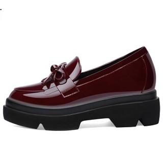 古奇天伦 女士英伦风蝴蝶结厚底内增高休闲单鞋8900 酒红色(增高) 39