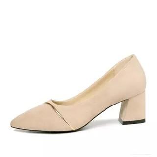 古奇天伦 女士尖头复古粗高跟浅口时尚百搭单鞋女 9273 米色 35