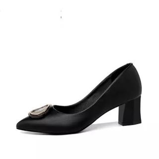 古奇天伦 女士韩版尖头粗跟套脚纯色百搭职业单鞋 9281 黑色 39