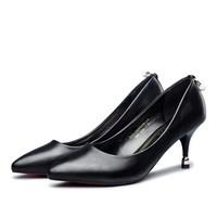 YEARCON 意尔康 女士高跟鞋 尖头浅口时尚 工作优雅水钻通勤婚鞋子 *3件