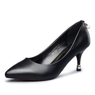 YEARCON 意尔康 女士高跟尖头浅口时尚工作优雅水钻通勤婚鞋子 7151ZA29820W 黑色 37