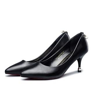 YEARCON 意尔康 女士高跟尖头浅口时尚工作优雅水钻通勤婚鞋子 7151ZA29820W 黑色 36
