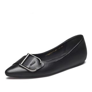 YEARCON 意尔康 女士尖头条带方扣平底平跟浅口单鞋女 9171DA26026W 黑色 39