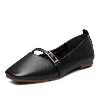 YEARCON 意尔康 女士复古玛丽珍平底平跟方头奶奶鞋 9171DA26010W 黑色 37