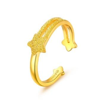 六福珠宝 足金星语心愿黄金戒指女款开口戒 计价 GDGTBR0018 约3.02克