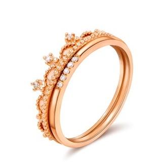 赛菲尔珠宝 钻石戒指女款 18K玫瑰金 闪耀皇冠钻戒 霸气一款多戴 约2-3分 13#