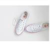 人本 经典帆布鞋女舒适平底学生低帮情侣 rb310182019 白红 38