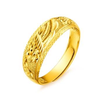 六福珠宝 足金龙凤结婚对戒黄金戒指女款婚戒活口戒 计价 B01TBGR0018 约3.64克