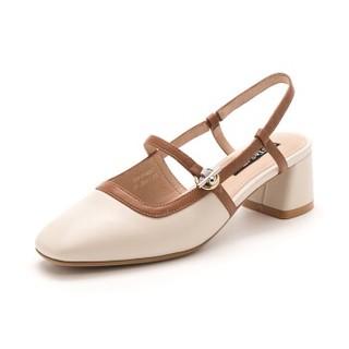 ST&SAT 星期六 羊皮革小香风粗跟时尚浅口单鞋 SS9111405241 米白 38