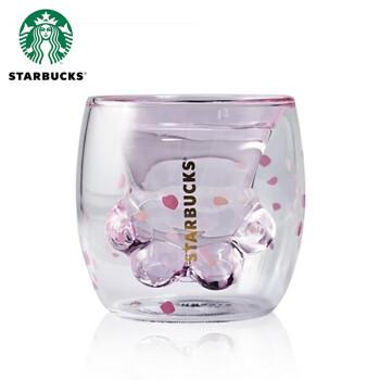 星巴克(Starbucks)杯子樱花正品猫爪杯限定抖音网红双层玻璃杯 樱花猫爪杯