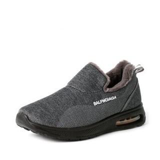 步瀛斋 老北京男传统中老年人 休闲软底防滑加绒气垫布棉鞋 BF-253 灰色 40