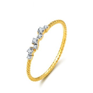 赛菲尔 18k金镶钻戒指女款 趣系列钻石女戒 时尚青春款钻戒 黄色白色18K金组合款 圈号11#