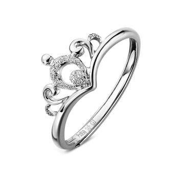 六福珠宝 网络专款Pt950皇冠铂金戒指女戒活口戒 计价 HIPTBR0002 约1.94克
