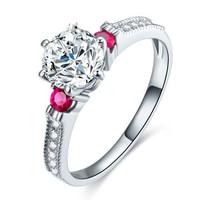 鸣钻国际 钻戒女 共约49分钻戒 白18k金钻石戒指结婚求婚女戒 情侣钻石对戒女款 悦倾心 13号