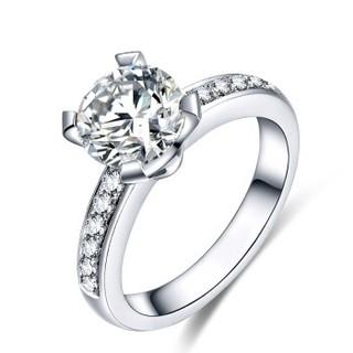 蓝色多瑙河 18K金钻石戒指四爪豪华群镶结婚钻戒定制款 冬日恋歌 HD060N