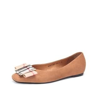 骆驼 A91071602 女士 气质淑女羊猄格子布扣饰单鞋 A91071602 杏色 35