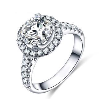 蓝色多瑙河 18K金钻石戒指群镶钻戒求婚钻戒定制款 巴伐利亚皇后 HD064N