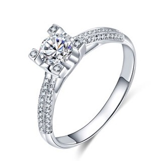 蓝色多瑙河 18K金钻石戒指群镶结婚钻戒婚戒女戒牛头定制款 灿星 HD054N