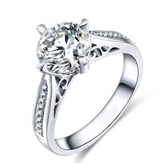 蓝色多瑙河 18K金钻石戒指群镶复古婚戒克拉钻戒定制款 布拉格之恋 HD065N
