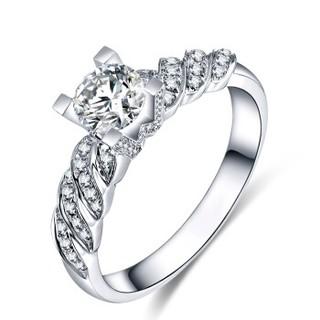 蓝色多瑙河 18K金钻石戒指复古牛头特色款豪华群镶结婚钻戒定制款 古堡爱恋 HD061N