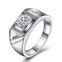 一搏千金(YBQJ)AG024 白18K金共18分FG色钻石戒指 求订婚钻石男戒 男士婚戒