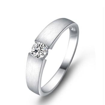 一搏千金(YBQJ)AG012 白18K金8分钻石戒指 求订婚钻石男戒 男士款钻戒