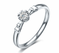 鸣钻国际 温婉 PT950铂金钻戒女款 白金钻石戒指结婚求婚女戒 钻石对戒女款 约24分