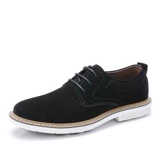 CAMEL 骆驼 潮流时尚轻盈反绒复古休闲牛皮鞋 A832266700 黑色 40