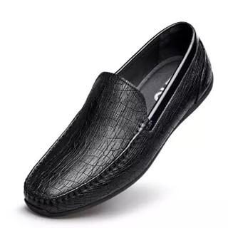 ZERO 男士时尚简约头层牛皮柔软舒适豆豆驾车休闲皮鞋 Z91905 黑色 40码