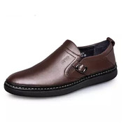 ZERO 时尚英伦潮流柔软舒适手工缝制头层牛皮男士休闲皮鞋 R73171 暗棕 44
