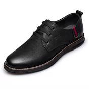 ZERO 男士头层牛皮舒适耐磨系带户外休闲鞋 H83385 黑色 39
