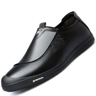 Mexican 稻草人 休闲皮鞋男士懒人套脚平底牛剥层革防滑耐穿 5501 黑色 39